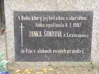 Johanna Šunnyiová rod. Lexmann pochovaná v Zlatých Moravciach